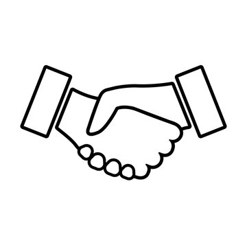 Handshake line icon. Two hands shaking in confirmation of business contract, agreement, partnership, or alliance. Vector Illustration