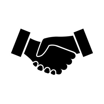 Handshake icon. Two hands shaking in confirmation of business contract, agreement, partnership, or alliance. Vector Illustration