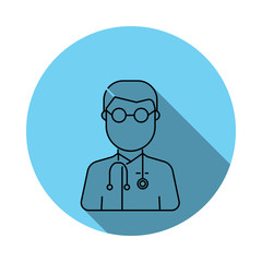 Doctor avatar Icon. Elements of avatar in flat blue colored icon. Premium quality graphic design icon. Simple icon for websites, web design, mobile app, info graphics
