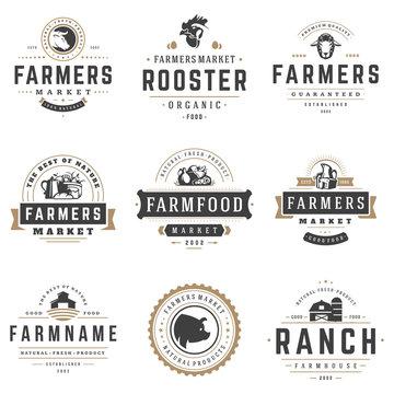 Farmers market logos templates vector objects set.