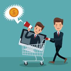 Businessmens promoting shopping vector illustration graphic design