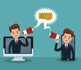Businessmens promoting online business vector illustration graphic design