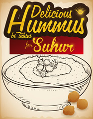 Delicious Hummus Dish and Chickpeas for Suhur Breakfast During Ramadan, Vector Illustration