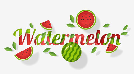 Word watermelon design decorated with watermelon fruits and leaves in paper art style , vector , illustration