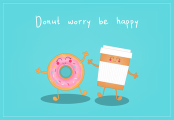 Cute coffee and donut. Morning breakfast. Vector illustration.