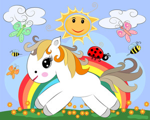A small white cartoon pony on a glade with a rainbow, flowers, sun. Card