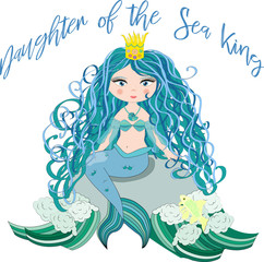 A beautiful little mermaid is sitting on a rock. Siren. Sea theme. vector illustration on a white background.