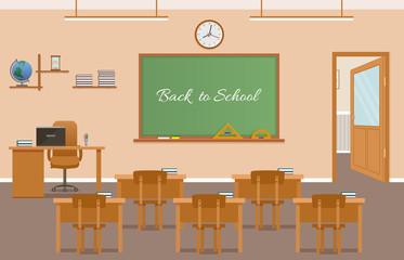 School class room interior design with text on chalkboard. School classroom with chalkboard, student desks.