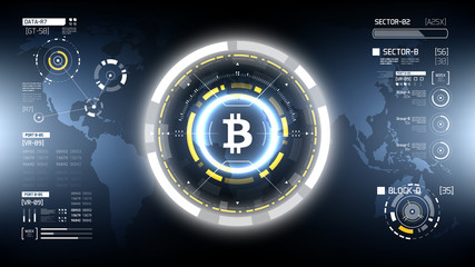 Bitcoin cryprocurrency futuristic vector HUD infographics. Worldwide digital money technology