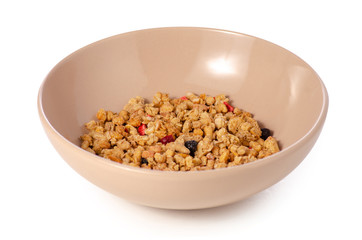 Granola with fruit in plate on a white background isolation