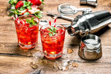 Cocktail making bar tools Red drink with ice Wall mural