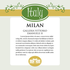 Designe page or menu for Italian products. It can be a guide with information about Italian city of Milan