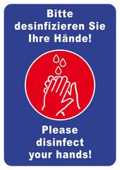 ks309 Kombi-Schild - deutsch: nssb1 NewSafetySignBlue nssb - Händedesinfektion - Bitte desinfizieren Sie Ihre Hände! - english: Please disinfect your hands! - poster - DIN A2 A3 A4 - blue xxl g6138