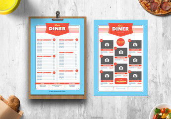 Blue and Red Diner Menu Layout