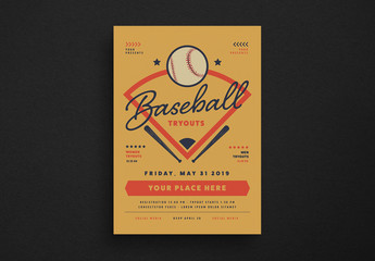 Retro Baseball Event Flyer Layout