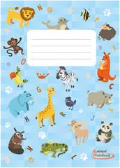 Notebook with different animals. Animals series notebook
