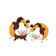 Two funny cartoon Guinea pigs clipart illustration vector