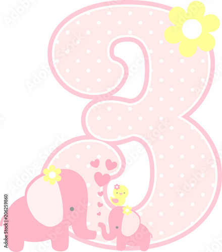 number 8 with cute elephant and little baby elephant