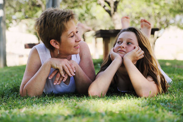Portrait of mother and daughter. Positive human emotions, feelings, joy.