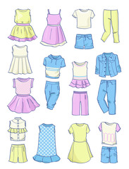 Set of summer clothes for girls,dresses, skirts, pants etc.,isolated on white background