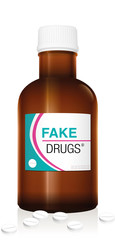Medicine bottle named FAKE DRUGS. Symbolic for harmful counterfeit pills, risk and danger of illegal produced and sold pharmaceuticals. Isolated vector on white.