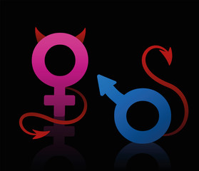 Bad boy and bad girl figured as the male and female symbol, blue and pink, with devils tails and horns. Isolated vector illustration on black background.