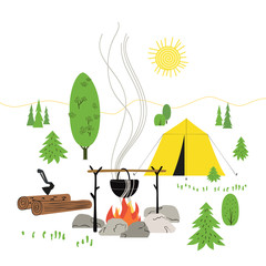 Campfire icon isolated