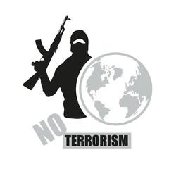 Terrorist with weapon. Stop terrorism. Terrorism concept. Vector graphics to design.