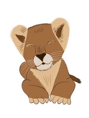 Hand drawn vector illustration of a baby lion isolated on white background