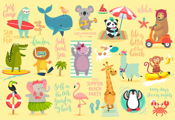 Beach Animals hand drawn style, Summer set - calligraphy and other elements.
