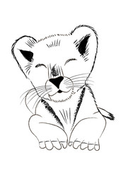 Hand drawn monochrome vector illustration of baby lion isolated on white background