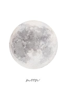 Watercolor texture of the full Moon, hand painted vector illustration