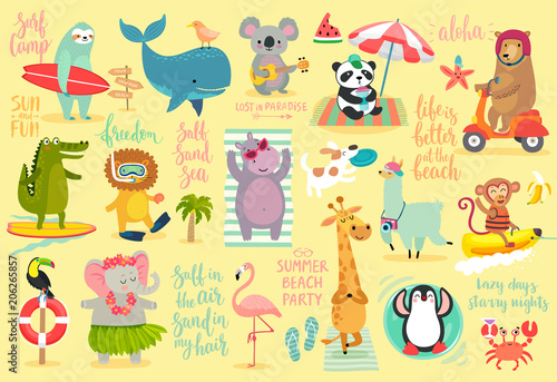 Wall mural Beach Animals hand drawn style, Summer set - calligraphy and other elements.