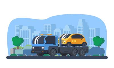 Wrecker car in city