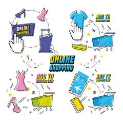 shopping online pop art set icons vector illustration design