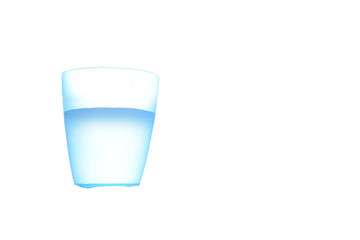 Blue plastic cup with water inside isolated on white  background.