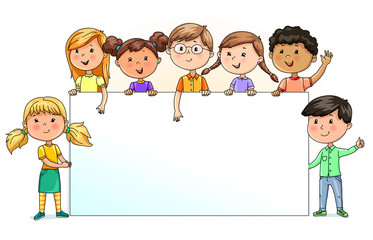 Funny kids holding blank banner for your text