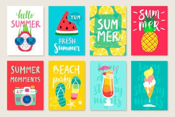Fototapete - Summer hand drawn calligraphyc card set