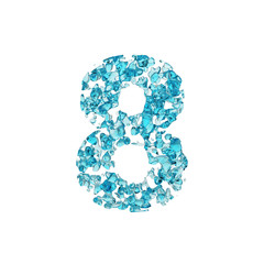 Alphabet number 8. Liquid font made of blue water drops. 3D render isolated on white background.