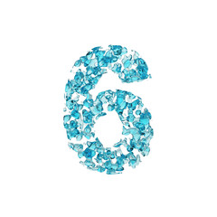 Alphabet number 6. Liquid font made of blue water drops. 3D render isolated on white background.