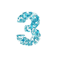 Alphabet number 3. Liquid font made of blue water drops. 3D render isolated on white background.
