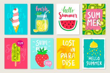 Wall Mural - Summer hand drawn calligraphyc card set with fruits, cocktails, ice cream. Use it for flyers, postcards, banners, posters and other designs.