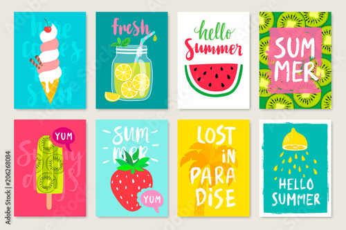 Wall mural Summer hand drawn calligraphyc card set with fruits, cocktails, ice cream. Use it for flyers, postcards, banners, posters and other designs.