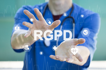 Doctor on blurred background using digital GDPR icon interface healthcare