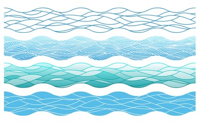 stylized outline ocean waves, vector elements for the endless borders, 4 different types based on the one scheme