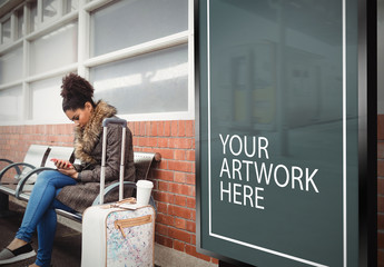 Advertising Billboard in Train Station Mockup