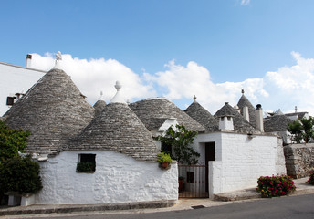 Alberobello, Puglia Region, South of Italy. Trulli di Alberobello.  Traditional roofs of the Trulli, original and old houses of this region. UNESCO heritage site.