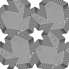 Abstract vector seamless op art pattern. Monochrome graphic star ornament. Fashion backdrop in vintage style.