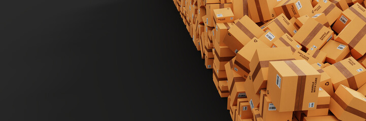 Infinite shipping boxes, transportation and logistics concept, original 3d rendering illustration