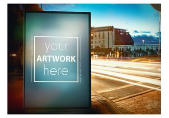 Billboard Advertising Kiosk on City Street Mockup